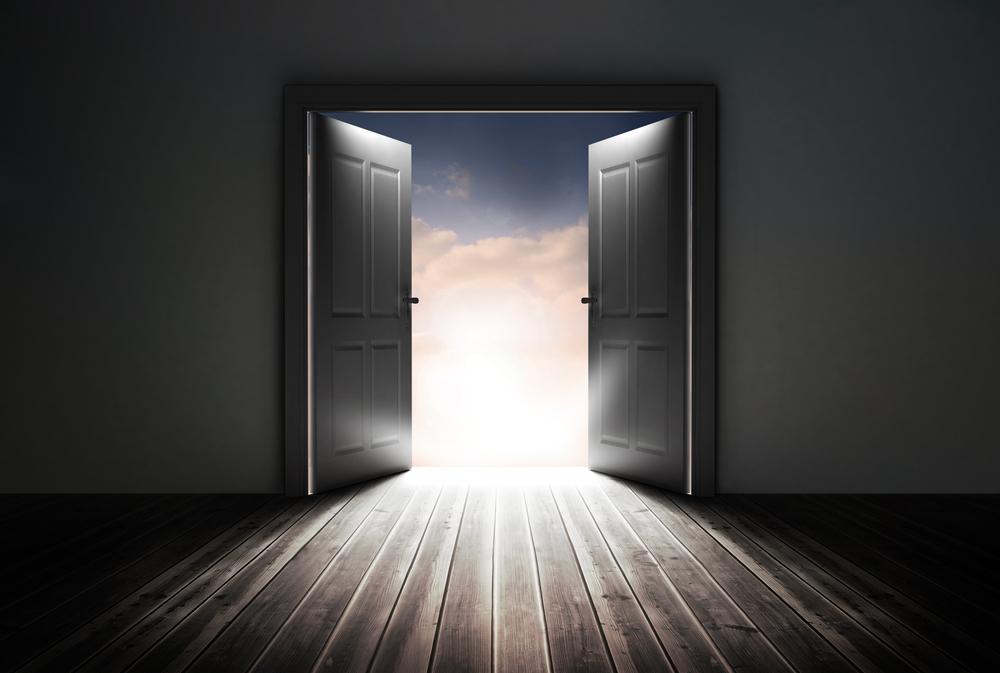 Doors opening to reveal beautiful sky in dark grey room-1